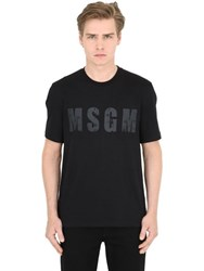 Msgm Logo Printed Cotton Jersey T Shirt