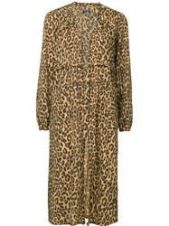 Hysteric Glamour Leopard Print Tie Waist Gown Brown