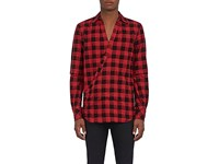 Takahiromiyashita Thesoloist Men's Crossover Front Plaid Cotton Shirt Red Black No Color