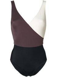 Solid And Striped Colour Block Fitted Swimsuit Multicolour