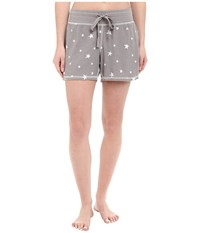 Dylan By True Grit Vintage Washed Waffle Vintage Stars Sleep Shorts Silver Grey White Women's Pajama Gray