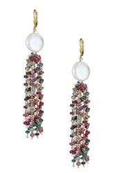 Gold Plated Sterling Silver Genuine Freshwater 13 15Mm Pearl And Natural Multi Sapphire Tassel Earring