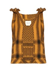 Cecilie Copenhagen Off The Shoulder Scarf Jacquard Top Yellow
