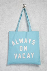 Forever 21 Always On Vacay Graphic Tote Blue Pink