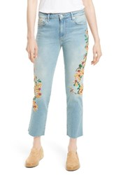 Free People Women's Embroidered Crop Girlfriend Jeans Light Denim