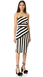 Milly Stripe Strapless Dress Black White