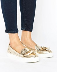 London Rebel Loafer Trainer Gold Pu