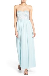 Women's Speechless Lace Bodice Strapless Gown