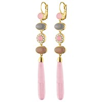 Dyrberg Kern French Hook Long Drop Earrings Rose Quartz