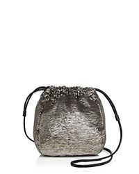 Halston Heritage Sequin Drawstring Crossbody Antique Silver