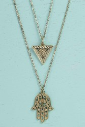 Boohoo Hamsa Hand Layered Necklace Gold
