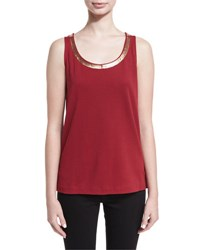Joan Vass Scoop Neck Sequin Trim Tank Cranberry
