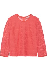 Rebecca Minkoff Luann Silk Trimmed Lace Top Orange
