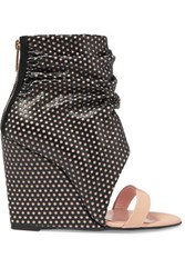 Jerome Dreyfuss Ella Cale Perforated Leather Wedge Sandals Black