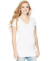 Motherhood Maternity V Neck Ruched Tee White