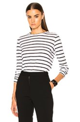 Proenza Schouler Tissue Jersey Long Sleeve Tee In White Stripes White Stripes