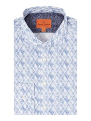 Simon Carter Men's Watercolour Diamond Print Harrison Shirt Blue
