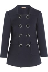 Michael Kors Collection Double Breasted Wool Crepe Blazer Navy