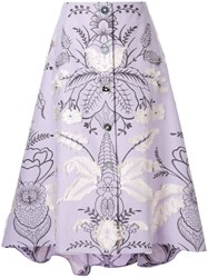 Delpozo Floral Embroidered Skirt Purple