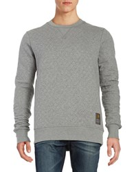 Guess Quilted Crewneck Pullover Grey
