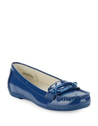 Anne Klein Noris Patent Leather Loafers Dark Blue
