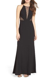 Aidan Mattox Women's By Crepe And Lace Halter Style Gown
