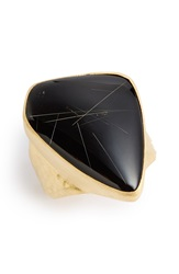 Heather Benjamin Onyx And Rutilated Quartz Ring Black