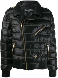 Balmain Cropped Quilted Coat Black