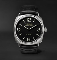 Officine Panerai Radiomir Black Seal 8 Days 45Mm Stainless Steel And Leather Watch Black