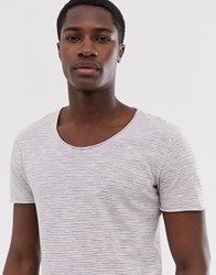 Selected Homme Scoop Neck Top In White Stripe