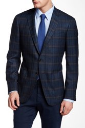 Todd Snyder Blue Windowpane Two Button Notch Collar Jacket