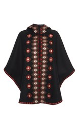 Vilshenko Ava Geometrical Embroidered Cape Black
