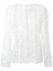 Givenchy Ruffled Lace Long Sleeve Top White