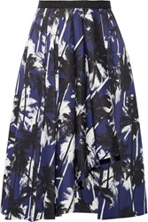 Jason Wu Grosgrain Trimmed Printed Cotton Poplin Skirt Navy