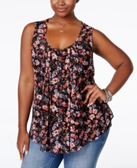 American Rag Plus Size Printed Button Down Blouse Only At Macy's Classic Black Combo