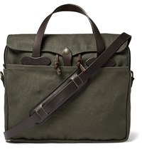 Filson Original Leather Trimmed Twill Briefcase Army Green