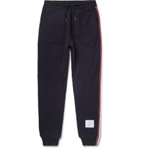 Thom Browne Slim Fit Grosgrain Trimmed Loopback Cotton Jersey Sweatpants Navy