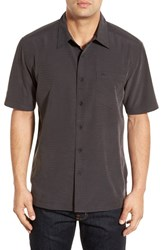 Quiksilver Men's Waterman Collection 'Centinela 4' Short Sleeve Sport Shirt Black