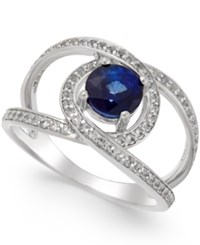 Macy's Blue Sapphire 1 1 4 Ct. T.W. And White Sapphire 3 4 Ct. T.W. Openwork Ring In Sterling Silver