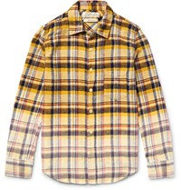 Remi Relief Slim Fit Degrade Checked Cotton Flannel Shirt Yellow