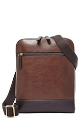 Men's Fossil 'Rory' Leather Courier Bag Brown