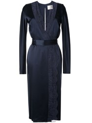 Dion Lee Satin Lace Panelled Dress Blue