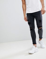 Gym King Muscle Fit Jeans In Black With Distressing