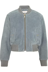 See By Chloe Suede Bomber Jacket Sky Blue