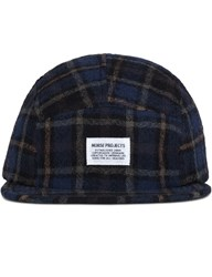 Norse Projects 5 Panel Loose Weave Gauze Tartan Check Cap