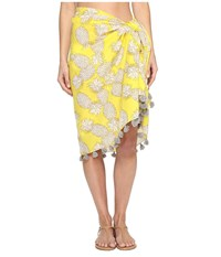 San Diego Hat Company Bss1718 Woven Cotton All Over Pineapple Print Sarong With Tassels Yellow Pineapple Women's Clothing