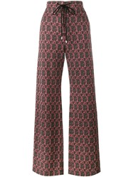 Celine Woven Geometric Trousers Red