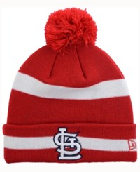 New Era St. Louis Cardinals 2 Tone Striped Pom Knit Hat Red White