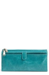 Hobo Women's 'Taylor' Glazed Leather Wallet Green Teal Green