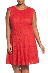 Chetta B Plus Size Women's Sparkle Lace Fit And Flare Dress